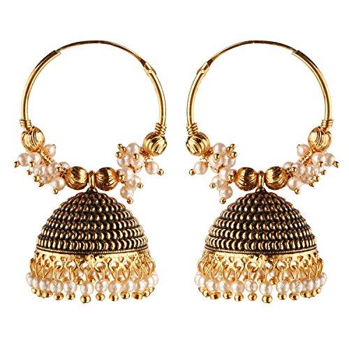 Efulgenz Boho Vintage Antique Ethnic Gypsy Tribal Indian Oxidized Gold Jhumka Jhumki Hoop Earrings Jewelry for Girls Women