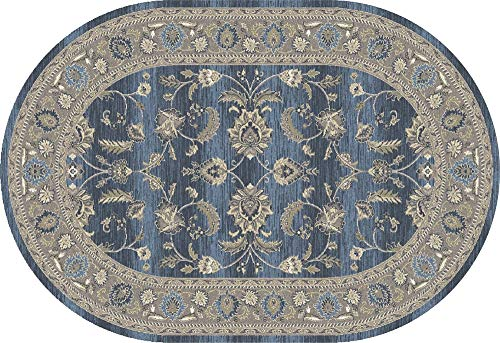 """Art Carpet Arabella Collection Scrollwork Woven Oval Area Rug, Oval 6'7"""" x 9'6"""", Blue/Light Gray from Art Carpet"""