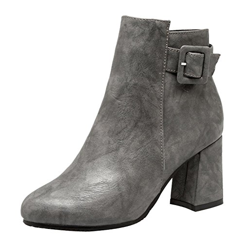 Mee Shoes Women's Chic Zip High Block Heel Short Boots Grey