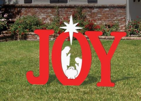 OUTDOOR RED JOY NATIVITY DISPLAY by Front Yard Originals