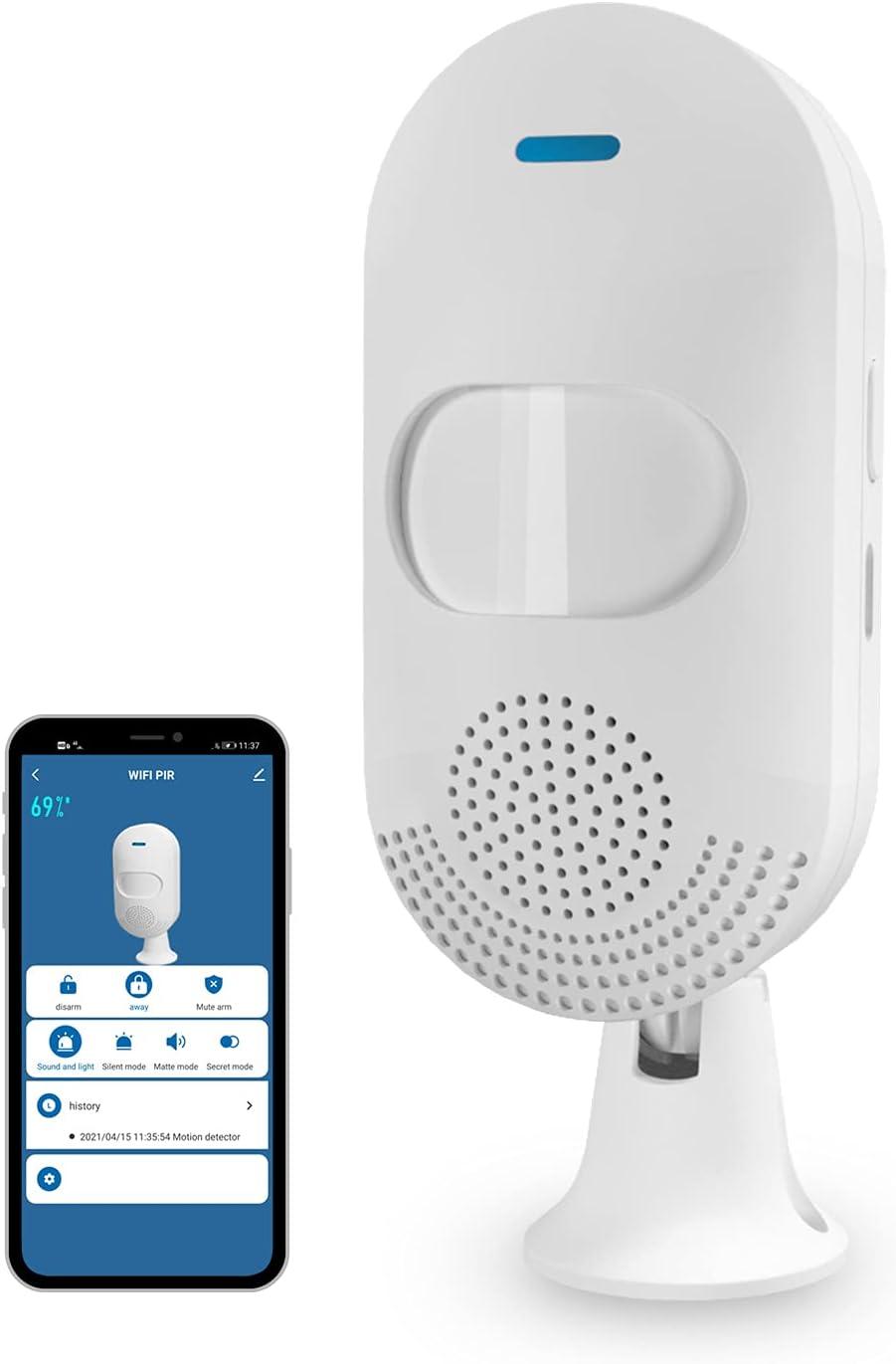 WiFi Smart Motion Sensor Alarm Feelink Indoor Infrared PIR Detector Siren Tuya Smart APP Control Wireless Trigger Player Home Security, Compatible with Alexa, Siri