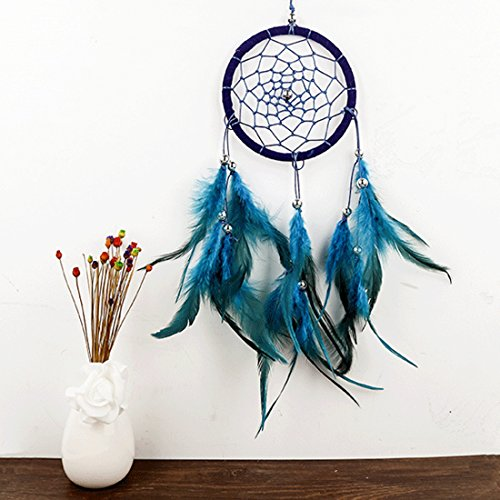 A-SZCXTOP Feather Dream Catcher- Traditional Blue Handmade Weave Dreamcatch Great Wall Hanging Ornament Home Decoration