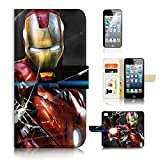 iphone 5 case iron man - ( For iPhone 5 5S / iPhone SE ) Flip Case Wallet Cover with Screen Protector - US B30032 - Ironman Super Hero B30032