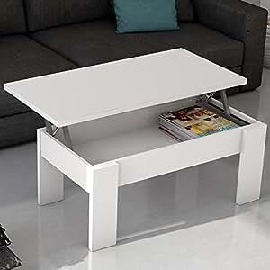Mesa de centro elevable blanca para salón comedor. 100x50cm: Amazon ...