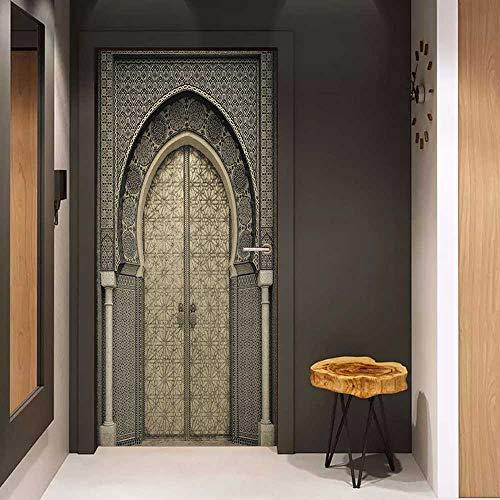 (Door Wall Sticker Moroccan Aged Gate Geometric Pattern Doorway Design Entrance Architectural Oriental Style Mural Wallpaper W30 x H80 Sepia Black )