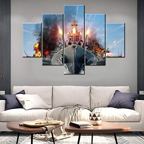 (Wall Pictures for Living Room Military Combat Tank Ship Paintings War Flame Red Artwork 5 Panel Premium Quality Wall Art on Canvas House Decorations Giclee Framed Stretched Ready to Hang(60''Wx40''H))