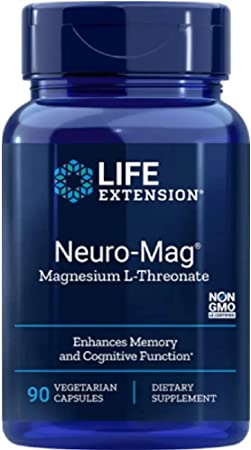 Life Extension Neuro-Mag Magnesium L-Threonate, 90 Vegetarian Capsules Ultra-Absorbable Magnesium - Memory, Focus & Overall Cognitive Performance Boost - Non-GMO, Gluten-Free