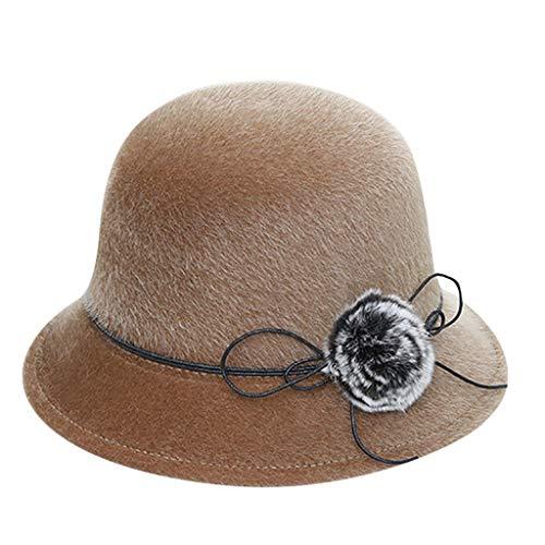 FEDULK Women's Crushable Felt Outback Hat Soft Classic Panama Fedora Wedding Party Hat(Khaki, One Size)
