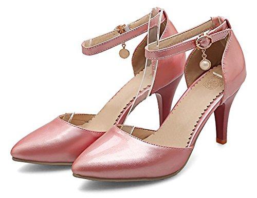 Aisun Moda Donna Chiuso Punta A Punta Fibbia Dressy Stiletto Tacco Alto Sandali Dorsay Con Cinturino Alla Caviglia Rosa