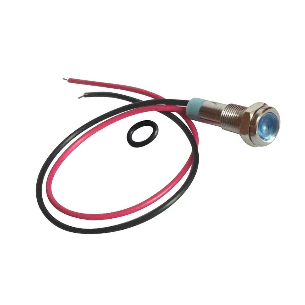 Almencla 6mm 12V Pré-câblé LED Lampe Témoin De Signal En Métal Avec Fils Conducteurs - blanc