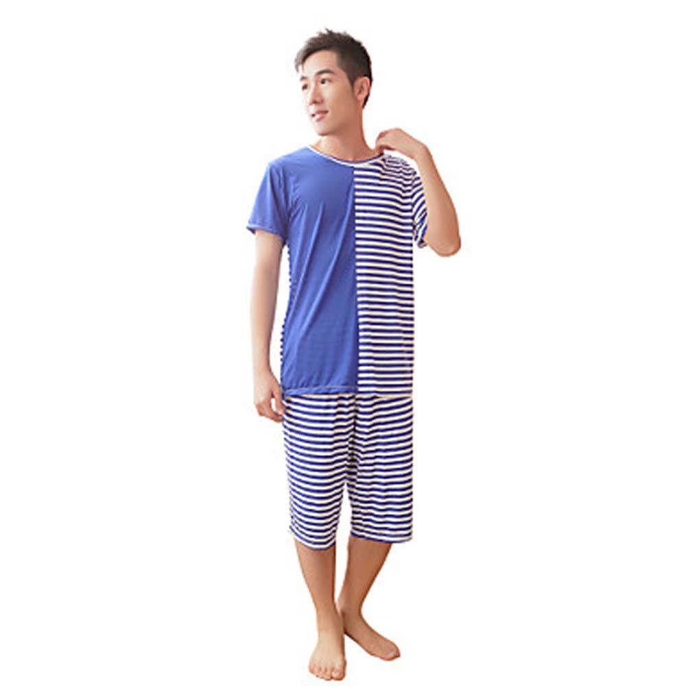 WWQY Summer couples pajamas personalized stripes stitching short - sleeved bamboo fiber men and women pajamas wholesale factory direct , blue , l