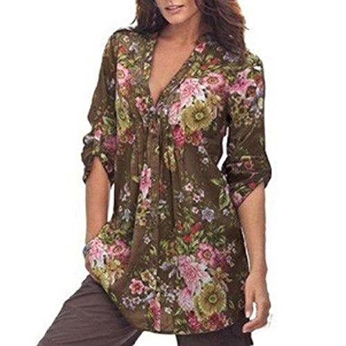 Plus Size Tunic Tops, Auwer Vintage Floral Print V-Neck Tunic Tops Women's Fashion Half Sleeve Top Shirt