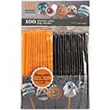 Sweet Creations 04866 100 Count Orange and Black Cake-Pop Sticks, Multicolor