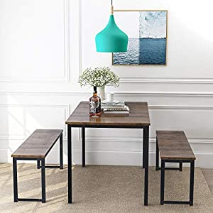 picture of Rhomtree 3 Pieces Dining Set Table with 2 Benches Kitchen Dining Room Furniture 47.6