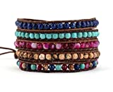 Leather Wrap Bracelet with Blue Synthetic-Turquoise Pink Agate Brown Jasper Beads