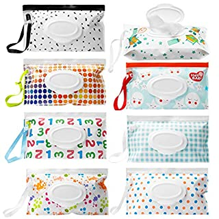 R HORSE 8PCS Wet Wipe Pouch Portable Wet Wipe Bags Handy Wet Wipe Pouch Reusable Wet Wipe Holder Set Refillable Baby Wipes Dispenser Wipes Carrying Case for Travel-Pouch Outside Carries