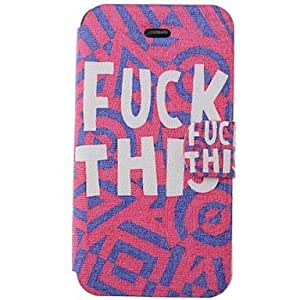 JAJAY- ships in 48 hours New Arrival Fuck This Pattern PU Full Body Case with Card Slot for iPhone 4/4S