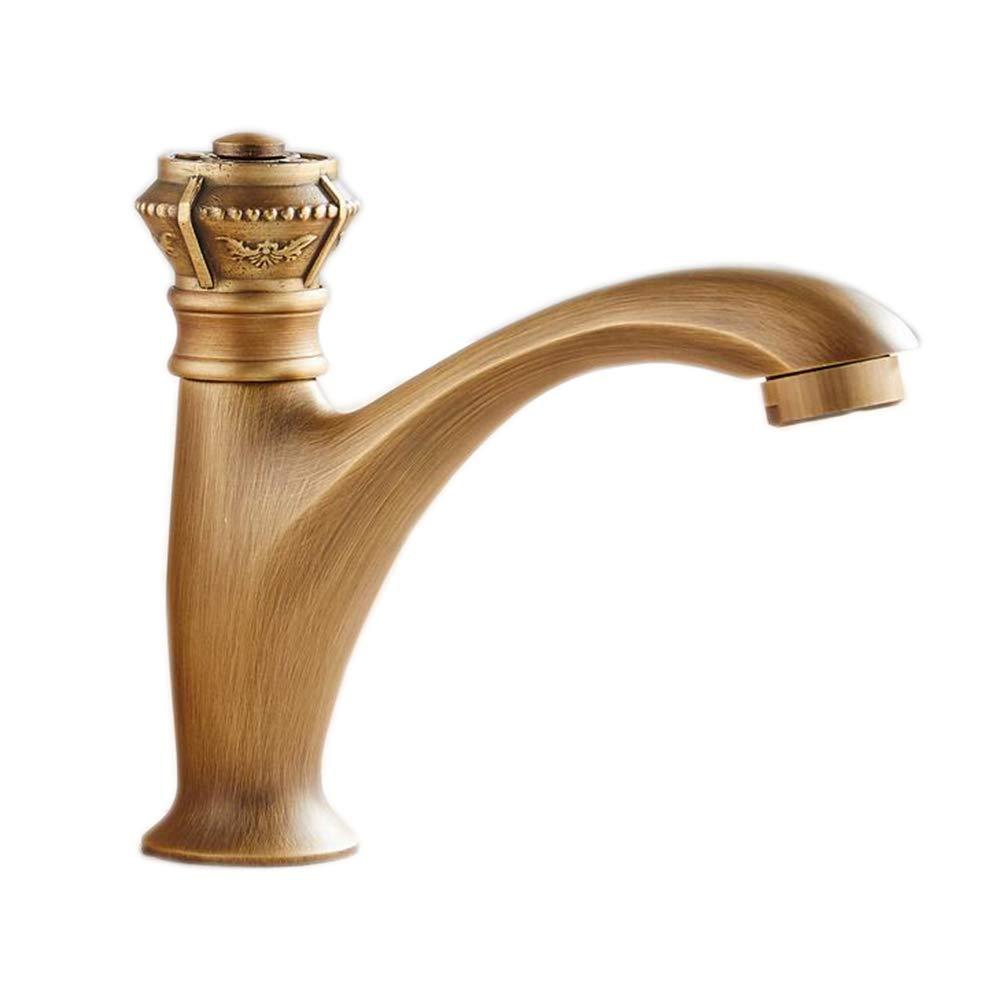 Jcnfa Badezimmer Wasserhahn Alles Kupfer Europäischer Stil Antiquität Geschnitzt Einlochiges Kaltes Wasser Gegenbecken (Farbe   A)