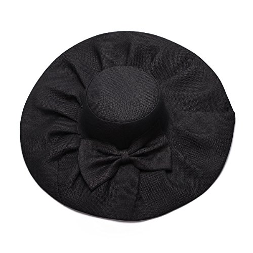 Linen Summer Womens Kentucky Derby Wide Brim Sun Hat Wedding Church Sea Beach A047 (Black) by Lawliet