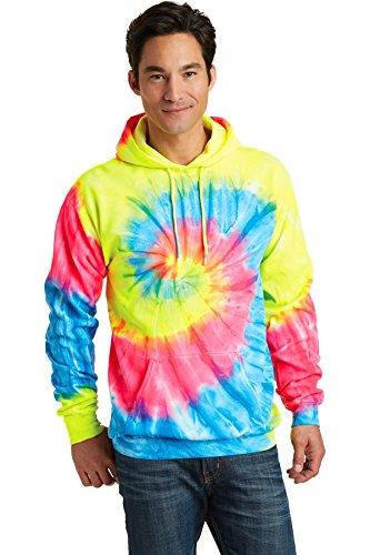 (Port & Company Tie-Dye Pullover Hooded Sweatshirt. PC146 Neon Rainbow M)