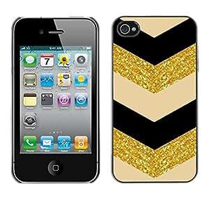 Cubierta de la caja de protección la piel dura para el Apple iPhone 4 / 4S - V black beige pattern