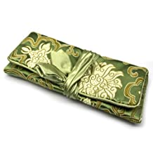 Jewelry Roll / Cosmetic Pouch Travel Bag Organizer - Oriental Brocade - Green