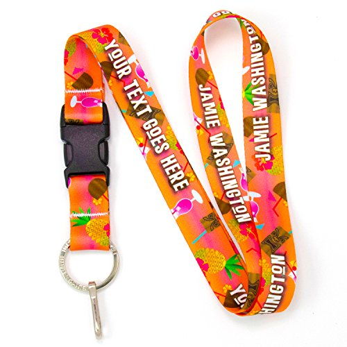 Sublimated Lanyard - Buttonsmith Tiki Drink Premium Custom Lanyard with Buckle and Flat Ring - Made in USA