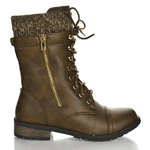 Forever Link Womens Mango-31 Round Toe Military Lace Up Knit Ankle Cuff Low Heel Combat Boots Brown PU 6