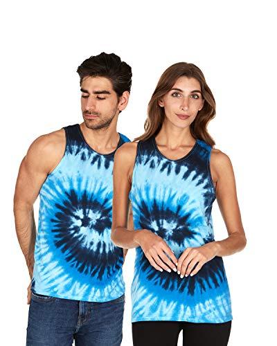 (Tie Dye Tank Top Men Women - Fun Bright Colotful Tops, Blue Ocean,)