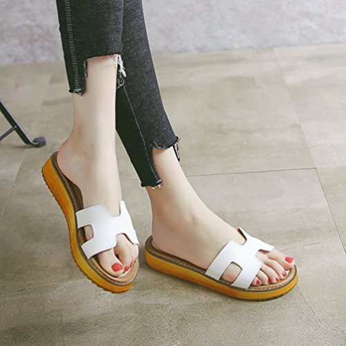 LINNUO Womens Sandals Thick Bottom Platform Slipper Faux Leather Casual Slip On Flatform Casual Summer Beach Shoes White jhR8p