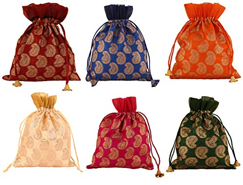 Touchstone New Gorgeous Indian Traditional Paisley Brocade Large Bags Pouches Potli for Gifts Wedding Jewelry Packaging Bridal Party Favours Assorted Colors Set of 6 for Women. (Best Gift For Engagement To Girl In India)