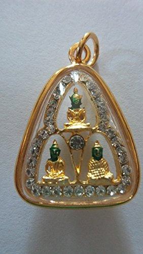San Jewelry Pendant Necklace Buddhist Phra Kaew Morakot Emerald 3 Season Thai Buddha Holy Amulet Pendant Crystal Gold
