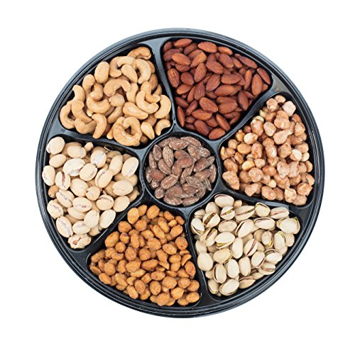 Sungood Fresh Nut Gift Basket, 7 Section Tray Of Different Variety Of Mix Roasted Nuts.