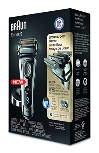 Braun Series 9 9293s Wet & Dry Electric Shaver for Men with Charging Stand, Premium Chrome Cordless Razor, Razors, Shavers, Pop up Trimmer, Travel Case by Braun (Image #1)