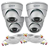 Mace Security MVK-SQ4CAM-IRVD MaceView SQ IR Vandal Dome 4-Pack Kit with 4 IRVD Cameras and 100 feet Cables and Power