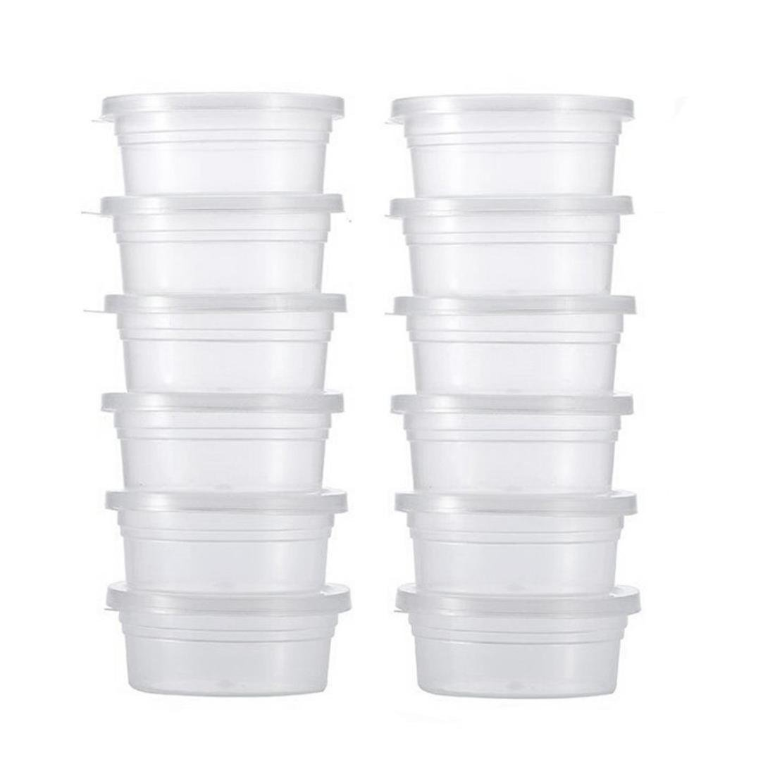 Weite Slime Storage Containers with Lids,12 pcs 4oz Storage Packages, Leakproof Clear Plastic Foam Ball Containers (Clear)