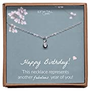 Happy Birthday Small Solitaire Necklace, Sterling Silver Tiny Elegant Jewelry Gift for Women and Girls