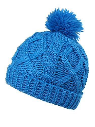 Younglove Soft Winter Cable Knit Pom Pom Beanie Winter Hat Cap For Boys/Girls,Sky Blue by YoungLove