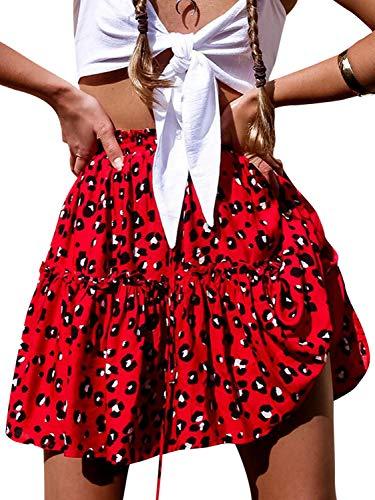 Conmoto Women's Elastic High Waist Ruffle Mini Skirt Boho Dot Floral Print A Line Flare Skirt Red 4/6