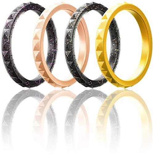 ThunderFit Thin and Stackable Silicone Rings, 4 Pack Silicone Wedding Bands for Women - Diamond Pattern