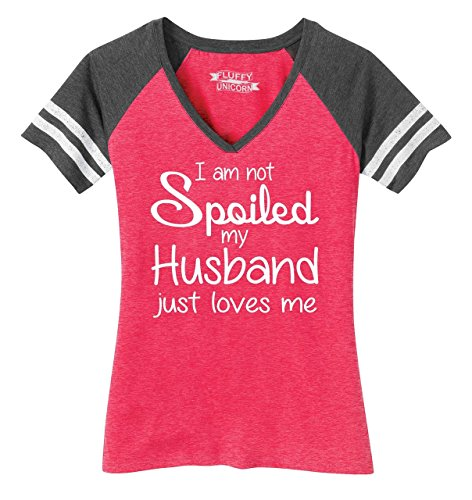 Comical Shirt Ladies Game V-Neck Tee I'm Not Spoiled My Husband Loves Me Heathered Watermelon/Heathered Charcoal 3XL ()