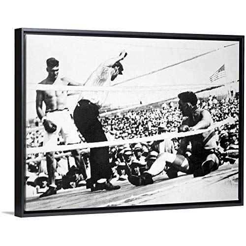 Jack Dempsey (1895-1983), American Boxer Black Floating Frame Canvas Art, - Heavyweight Ohio Gloves