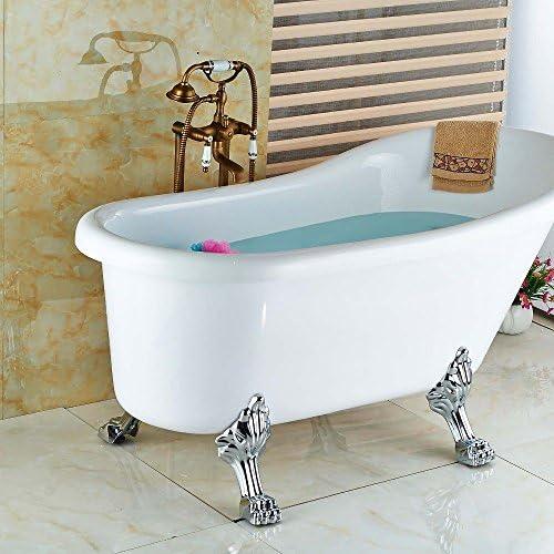 八瀬・王 蛇口浴室アンティーク真鍮の床立ちバスタブ蛇口タップハンドシャワーミキサーセット2脚、ホワイト