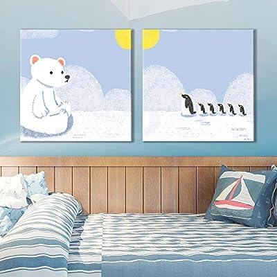 "2 Panel Square Canvas Wall Art - Cute Cartoon Polar Bear and Penguins - Giclee Print Gallery Wrap Modern Home Art Ready to Hang - 12""x12"" x 2 Panels"