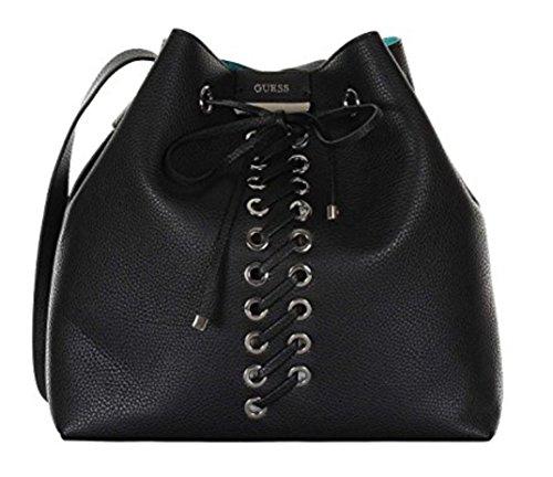 Guess Bobbi Inside Out Hobo Bag, Black Aqua