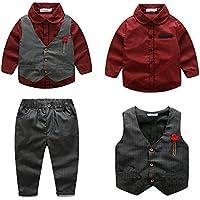 Kimocat Boys 3Pcs Clothing Sets Elegant Long Sleeve Shirts + Vest with Flower+Pants Party Suit