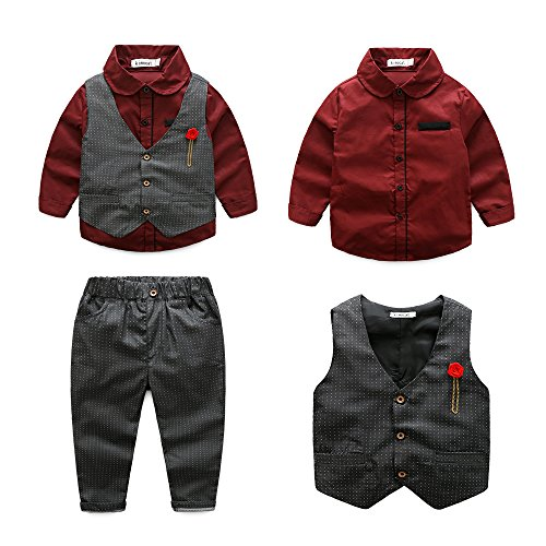 - Boys 3Pcs Clothing Sets Elegant Long Sleeve Shirts + Vest with Flower+Pants Party Suit (Red, 4-5Y(120#))