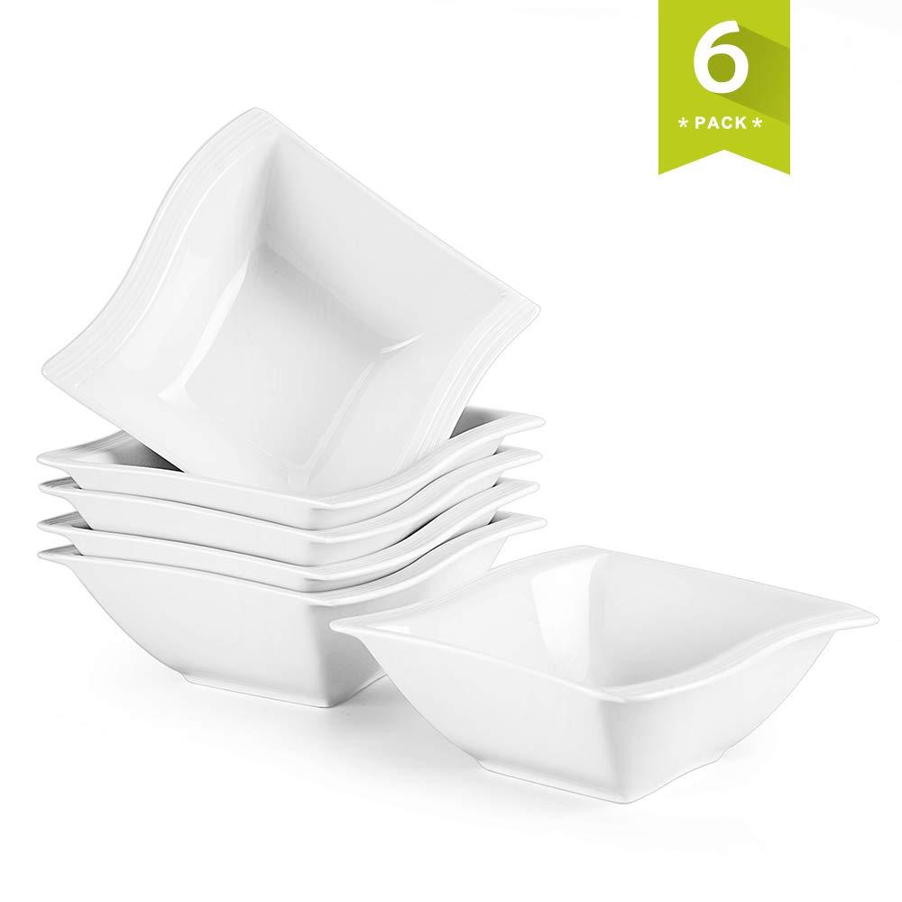 Malacasa, Series Flora, 6-Piece 5.75'' / 12oz Ivory White Porcelain Square Soup Cereal Bowls Dinnerware Bowl Set