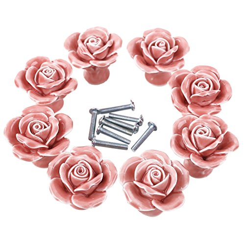 WOLFBUSH Knobs, 8Pcs Elegant White/Pink Rose Pulls Flower Ceramic Cabinet Knobs Cupboard Drawer Pull ()