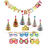 Small Birthday Party Hats with Pom Poms and Glitter Crow Set for Kids or Adults with Happy Birthday Banner and Lens-less Happy Birthday Glasses by CSPRING